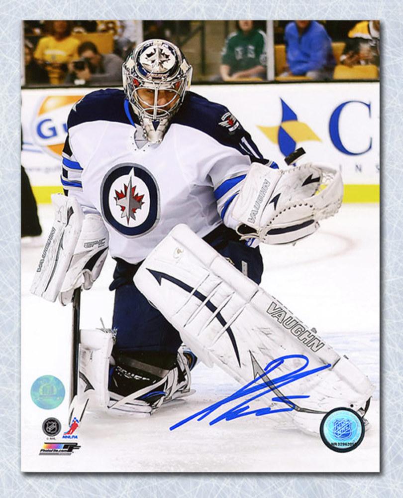 Ondrej Pavelec Winnipeg Jets Autographed Glove Save 8x10 Photo