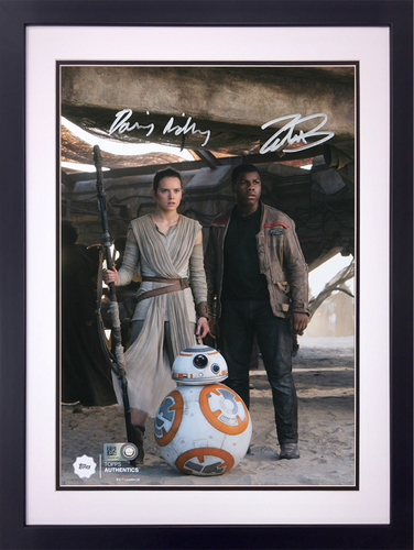 Daisy Ridley as Rey and John Boyega as Finn at the Niima Outpost Dual Autographed in Silver Ink 8x10 Framed Photo