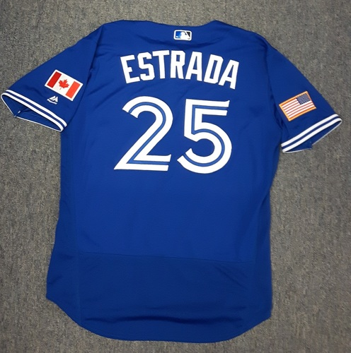 Photo of Authenticated Game Used Independence Day Jersey (July 4, 2017) - #25 Marco Estrada. Size 46