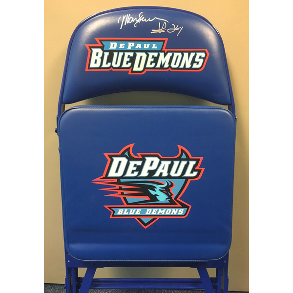 Photo of Mark Aguirre Autographed DePaul Basketball Team Bench Chair
