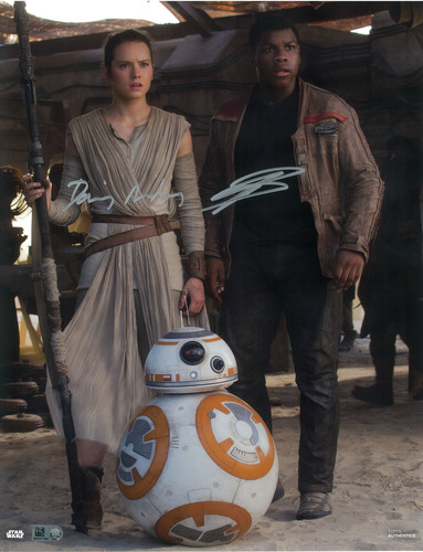 Daisy Ridley as Rey and John Boyega 8x10 Dual Autographed in Silver Ink Photo