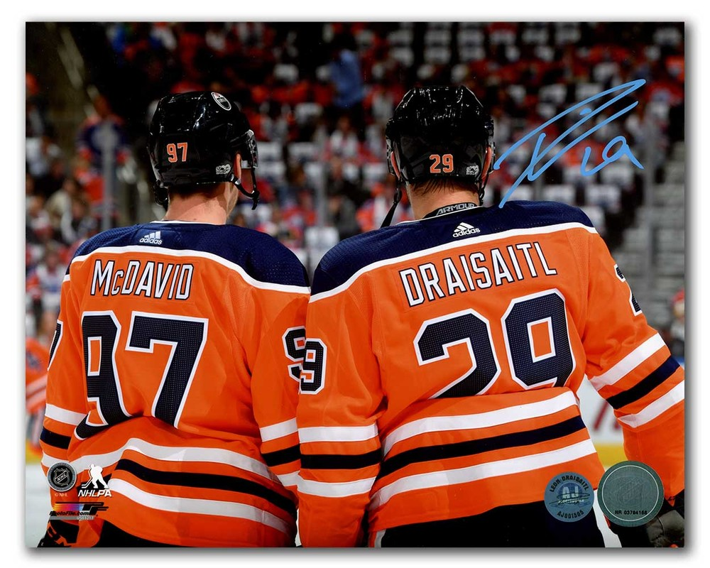 Leon Draisaitl Edmonton Oilers Signed Reverse Close-Up With McDavid 8x10 Photo