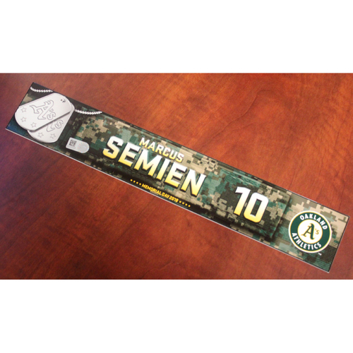 Photo of Marcus Semien 2018 Team Issued Memorial Day Locker Nameplate