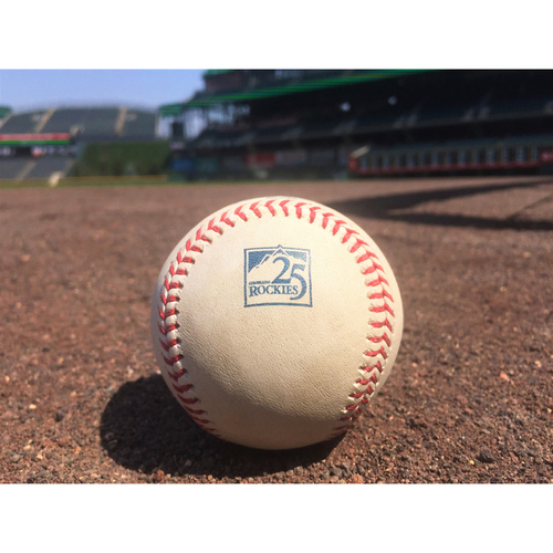 Photo of Colorado Rockies Game-Used Baseball - Taillon v. McMahon - Single to Luplow - August 7, 2018