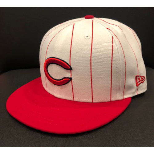 Photo of Tyler Mahle -- 1961 Throwback Cap -- Cardinals vs. Reds on July 21, 2019 -- Cap Size 7 1/8