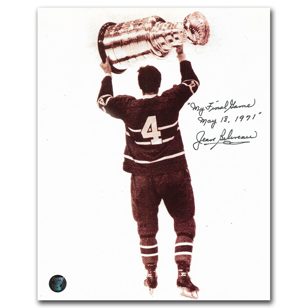 Jean Beliveau Autographed Montreal Canadiens 8X10 Photo w/MY FINAL GAME - MAY 18, 1971 Inscription