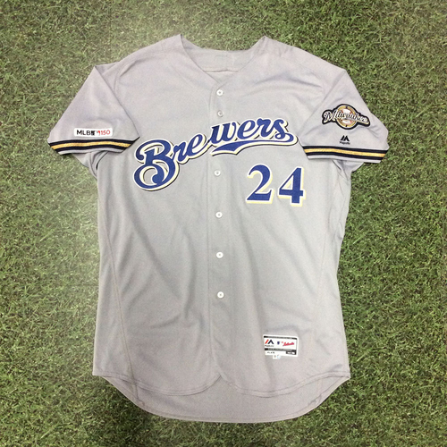 Photo of Jesus Aguilar 2019 Game-Used Road Grey Jersey