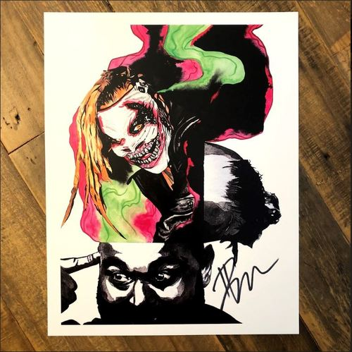 "Photo of Bray Wyatt ""The Fiend"" SIGNED 11 x 14 Rob Schamberger Print"