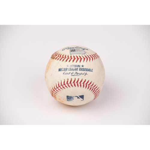 Photo of Game Used Baseball: Pitcher: Ty Buttrey, Batters: Eric Hosmer (Single), Mitch Moreland (Single), Jake Cronenworth (Ball in Dirt) - Top 8 -  9-2-2020 vs. SD