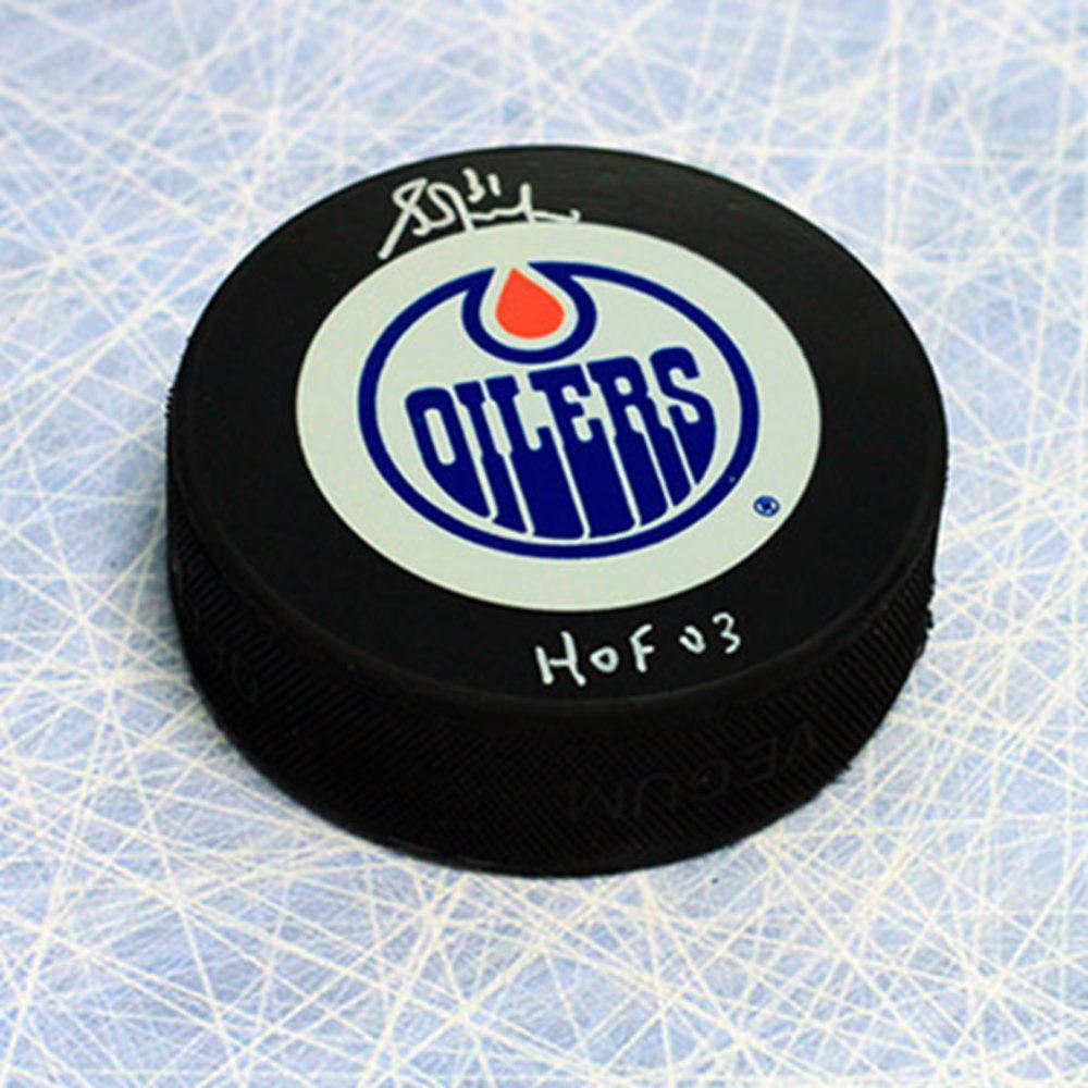 Grant Fuhr Edmonton Oilers Autographed Hockey Puck with HOF 03 Note