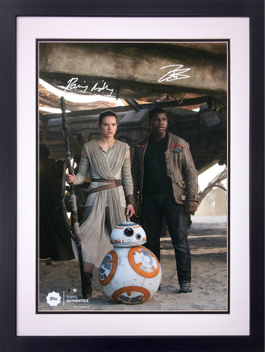 Daisy Ridley as Rey and John Boyega as Finn at the Niima Outpost Dual Autographed in Silver Ink 16x20 Framed Photo