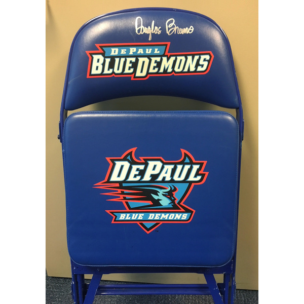 Photo of Doug Bruno Autographed DePaul Basketball Team Bench Chair