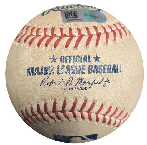 Photo of Player Collected Baseball from Pirates vs. Cubs on 9/4/17 - Final Out of Pirates 12-0 Win