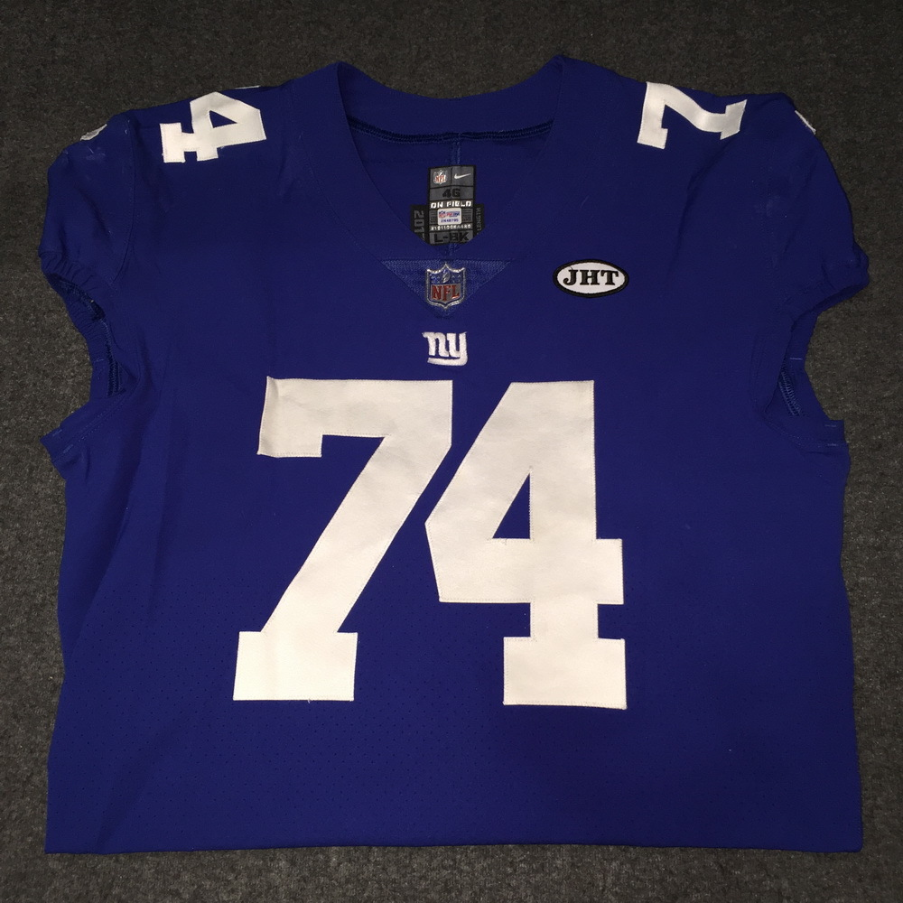 STS - Giants Ereck Flowers Game Used Jersey W/ JHT Patch Game Date 11.19.17 Size 46 (Washed by Equipment Manager)