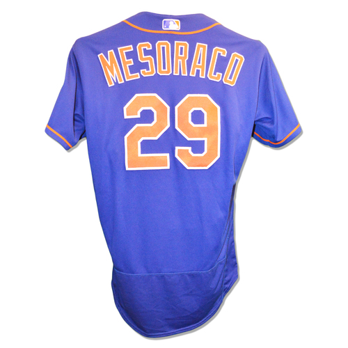 Photo of Devin Mesoraco #29 - Game Used Blue Alt. Home Jersey - Mets vs. Marlins - 9/28/18