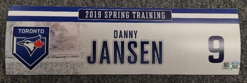 Photo of Authenticated Game Used Locker Tag - #9 Danny Jansen (2019 Spring Training in Montreal)