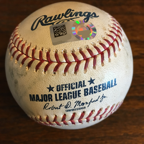 Photo of Game-Used Baseball: Pitcher Scott Barlow, Batter: Carlos Correa (Single) - Bot 7 - 5/6/19 vs. KC