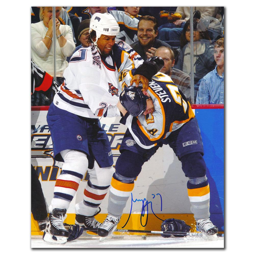 Georges Laraque Edmonton Oilers vs STEVENS Autographed 8x10