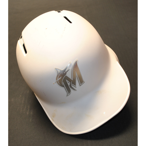 "Photo of Bryan ""HOLLY"" Holaday Miami Marlins Game-Used 2019 Players' Weekend Helmet"