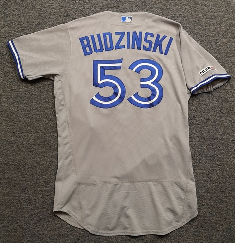 Photo of Authenticated Game Used Jersey - #53 Mark Budzinski (Apr 5, 19). Size 44.