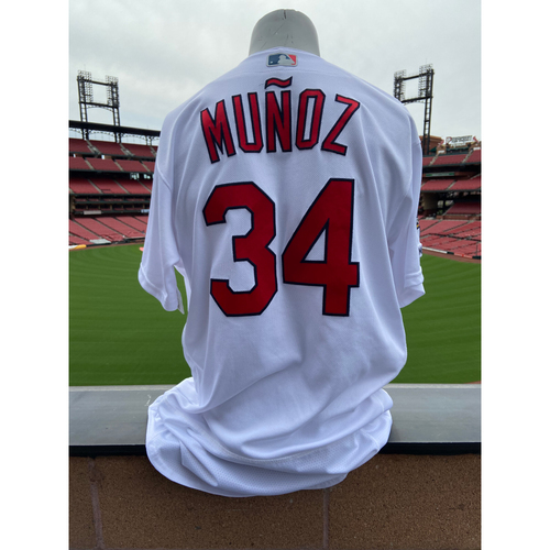 Photo of Cardinals Authentics: Yairo Munoz Game Worn Home White Jersey