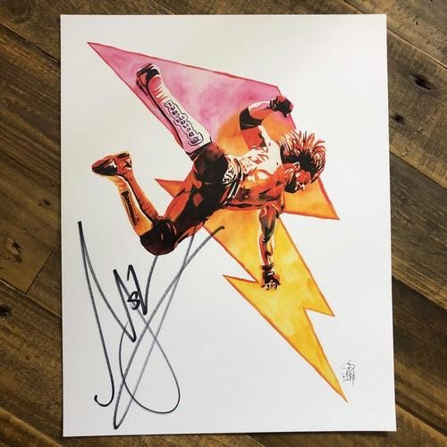 Photo of AJ Styles (Lightning Bolt) SIGNED 11 x 14 Rob Schamberger Print