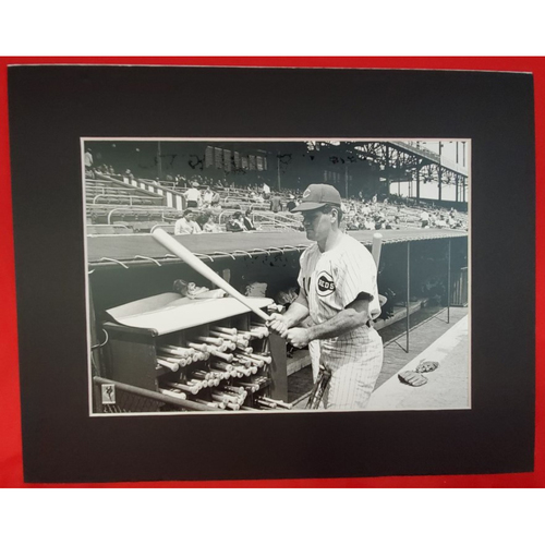 Photo of Matted Pete Rose at Bat Rack - 11x14