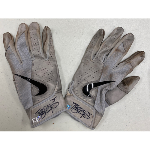 Photo of Team Issued Autographed Gray Nike Batting Gloves signed by #35 Brandon Crawford