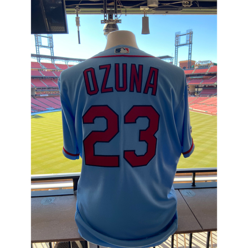 Photo of Cardinals Authentics: Team Issued Marcell Ozuna Road Alternate Jersey