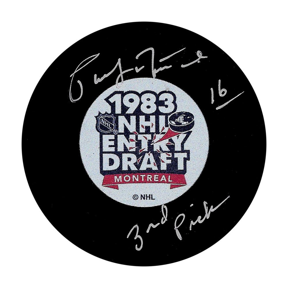 Pat Lafontaine 1983 NHL Entry Draft Puck w/3RD PICK Inscription