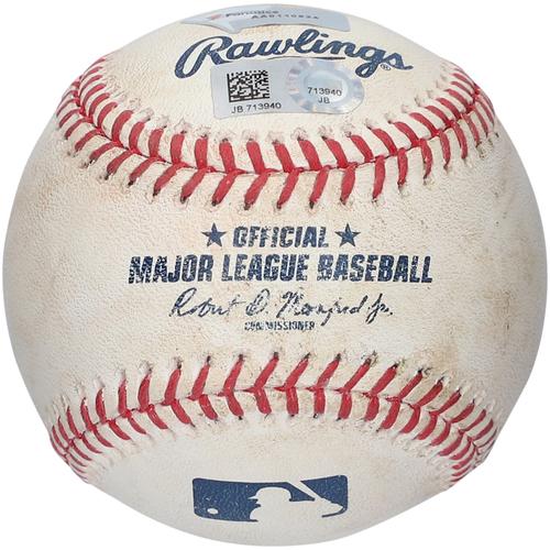 Photo of Kyle Higashioka New York Yankees Game-Used Baseball vs. Boston Red Sox on August 4, 2019 - Double