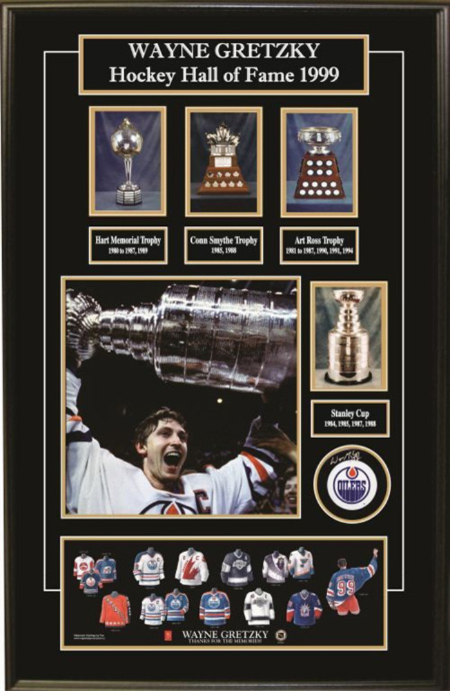 Wayne Gretzky Edmonton Oilers Deluxe Frame with signed puck w/images, trophy pics