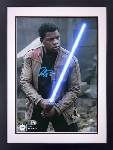 John Boyega as Finn at the Battle of Takodana Autographed in Blue Ink 8x10 Framed Photo