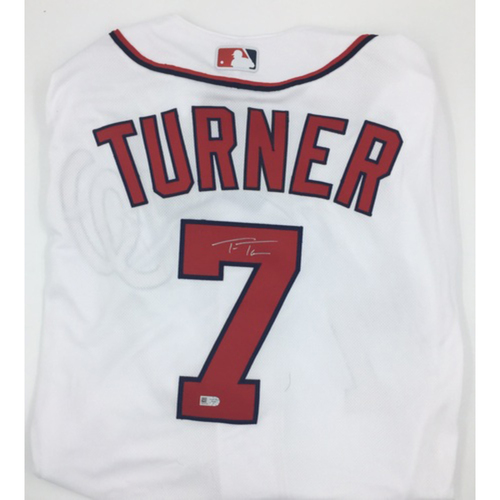 Photo of Trea Turner Autographed Authentic Nationals Jersey - White