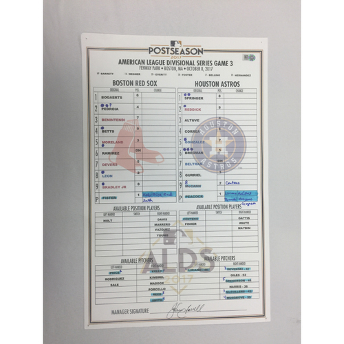October 8, 2017 Astros at Red Sox ALDS Game 3 Game-Used Lineup Card