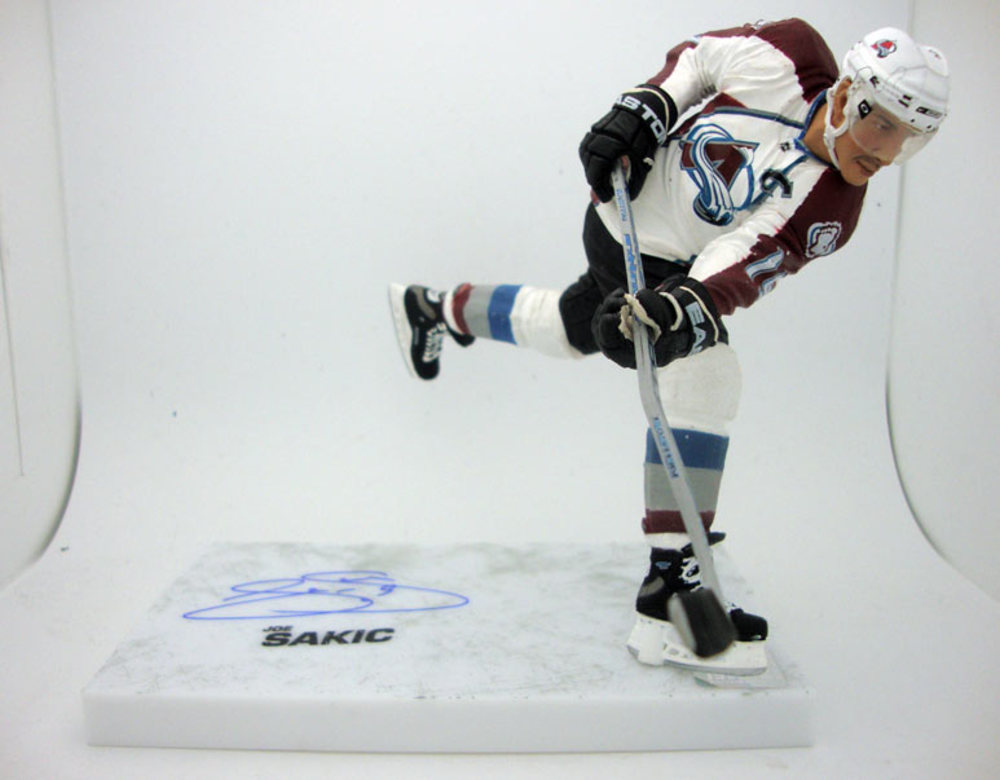 Joe Sakic Colorado Avalanche Signed White Jersey McFarlane Sports Picks Figure