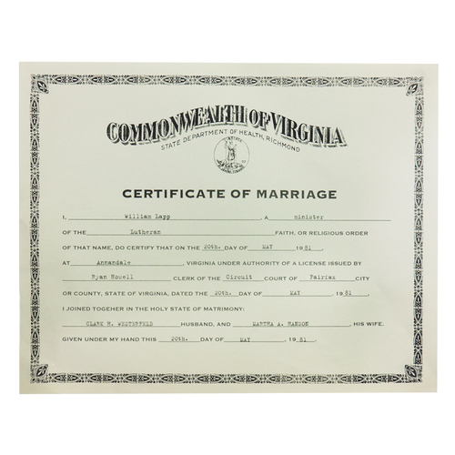 Photo of Clark and Martha Wedding Certificate Copy