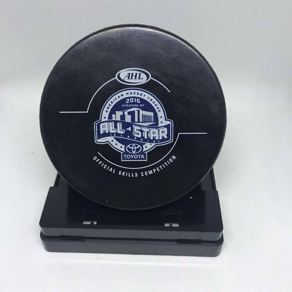 2016 Skills Competition CCM Hardest Shot-Used Puck- #28 Connor Carrick- Attempt 2