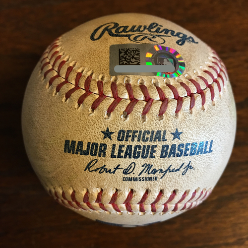 Photo of Game-Used Baseball: Pitcher Brett Martin, Batter: Carlos Correa (Double) - Bot 6 - 5/12/19 vs. TEX - Corbin Martin MLB Debut