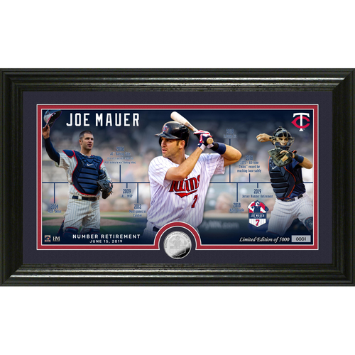 Photo of Joe Mauer Number Retirement Silver Coin Pano Photo Mint