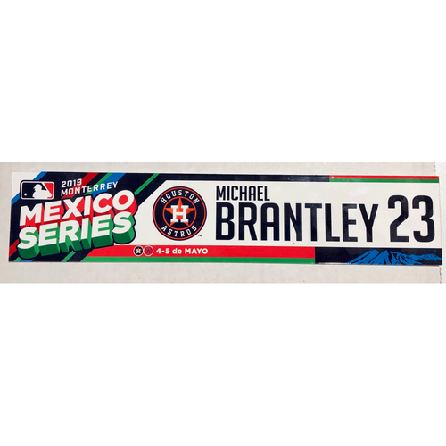 Photo of 2019 Mexico Series Game Used Locker Name Plate - Michael Brantley, Houston Astros at Los Angeles Angels - 5/4/19 - 5/5/19