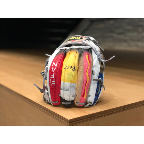 "Photo of One-of-a-kind Custom Painted ""Take me out to the Ballgame"" Wilson A2000 Glove Made for Matt Boyd"
