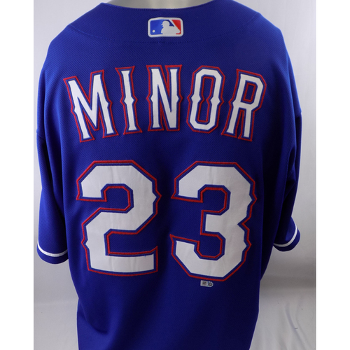 Photo of Game-Used Blue Jersey - Mike Minor - 8/27/19