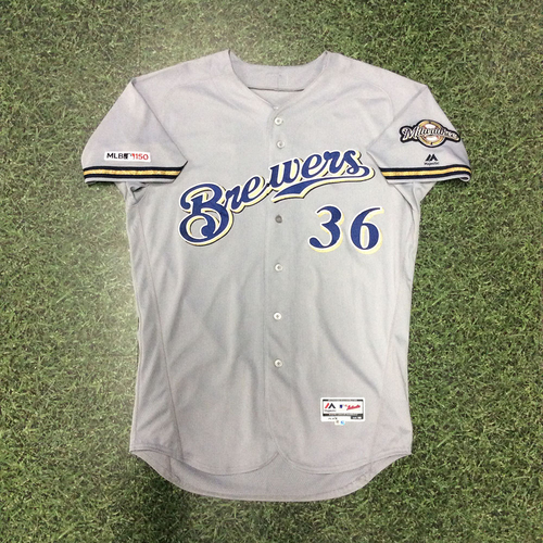 Photo of Jake Faria 08/06/19 Game-Used Road Grey Jersey - Brewers Debut Game