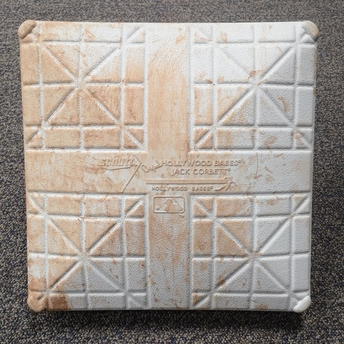 Photo of Authenticated Game Used Base - 1st Base for Innings 4 to 6 (Apr 26, 19 vs OAK). MLB Debut for Vladimir Guerrero Jr.
