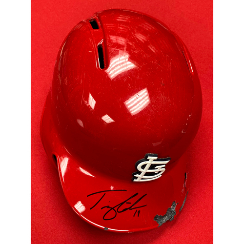 Photo of Tommy Edman Autographed Game Used Red 2019 Postseason Batting Helmet (9/28/19, STL v CHC)