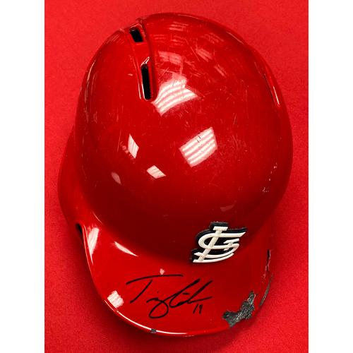 Tommy Edman Autographed Game Used Red 2019 Postseason Batting Helmet (9/28/19, STL v CHC)