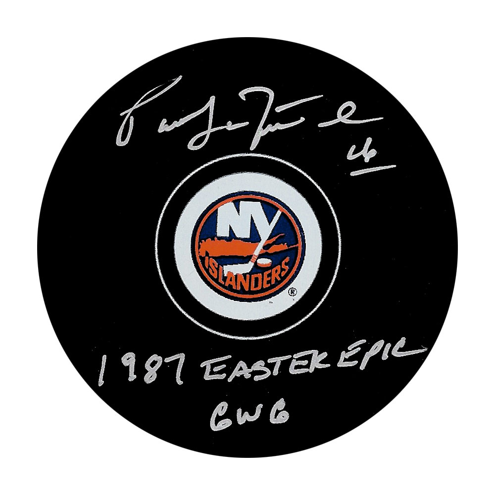 Pat Lafontaine Autographed New York Islanders Puck w/1987 EASTER EPIC GWG
