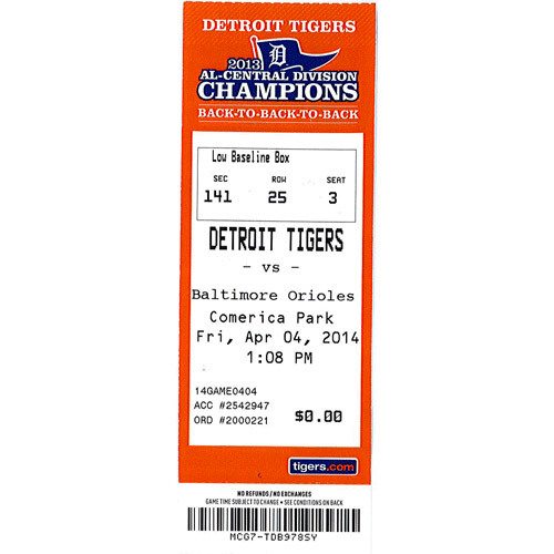 Photo of Detroit Tigers Miguel Cabrera 2,000 Hit Game Ticket