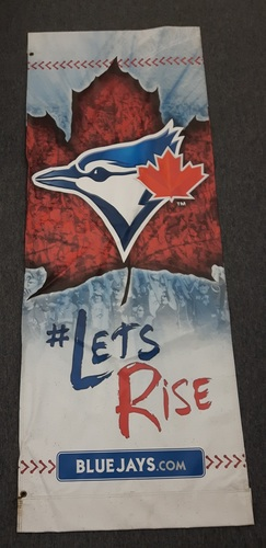"Photo of Authenticated 2017 Blue Jays Home Opener Banner with ""Lets Rise"""